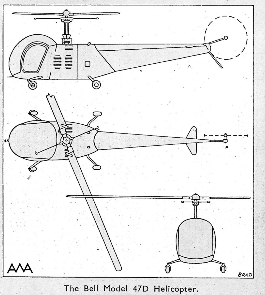 Treplanskisse, Bell 47D Helicopter.