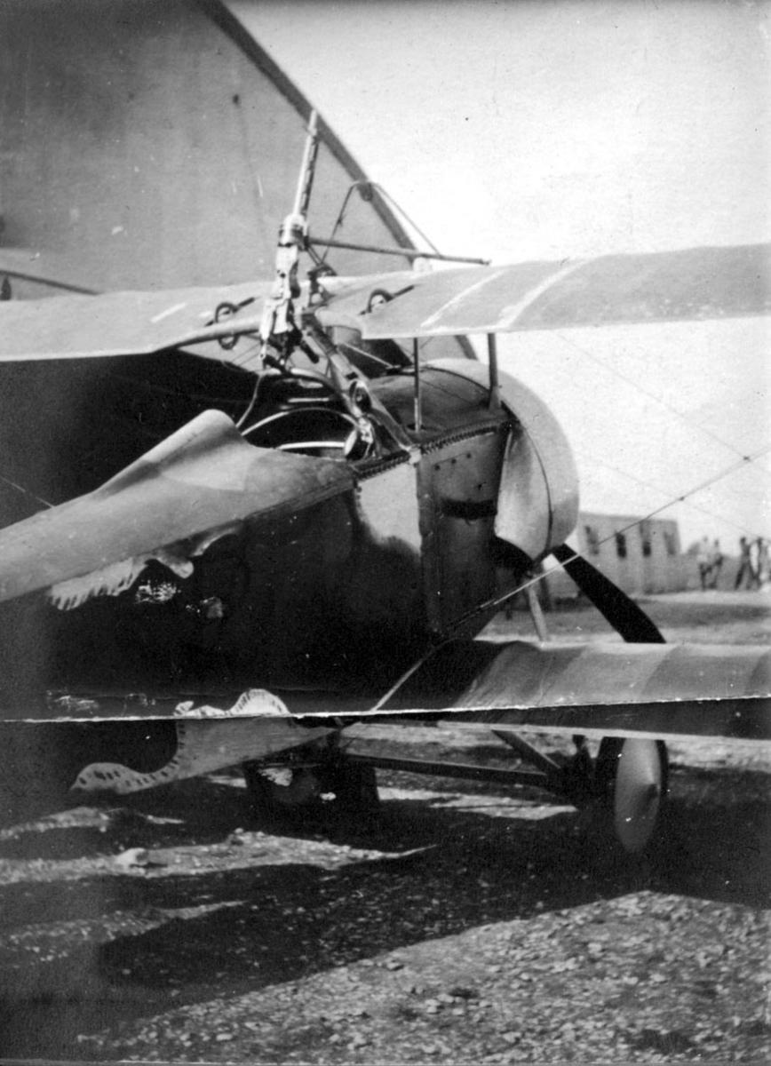 Fly, ant. fransk, med våpen - maskingevær montert over cockpit. Skrått bakfra. Hangar e.l. bak.