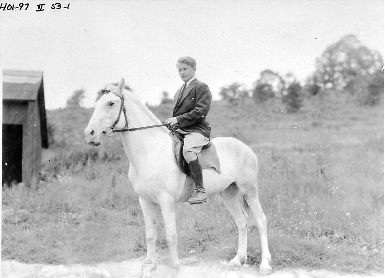 Portrett, 1 person til hest - rytter. Tatt utendørs