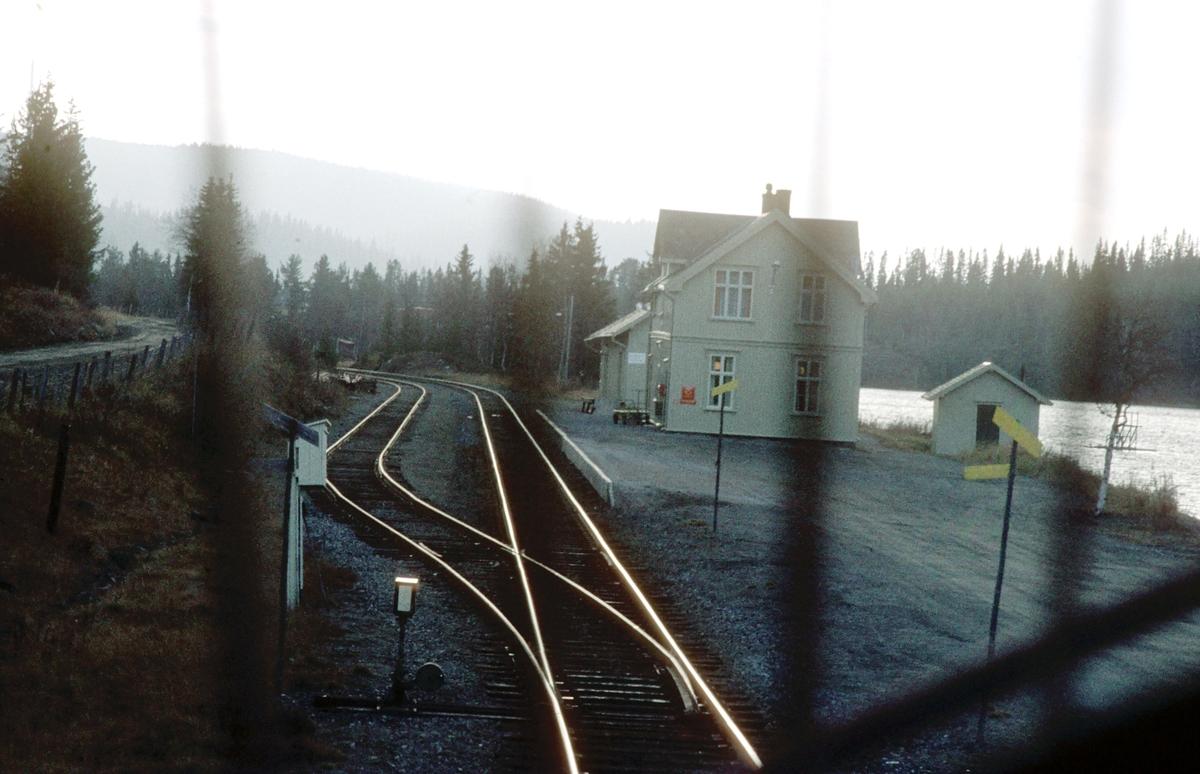 Tog 281 kjører inn på Tonsåsen stasjon.