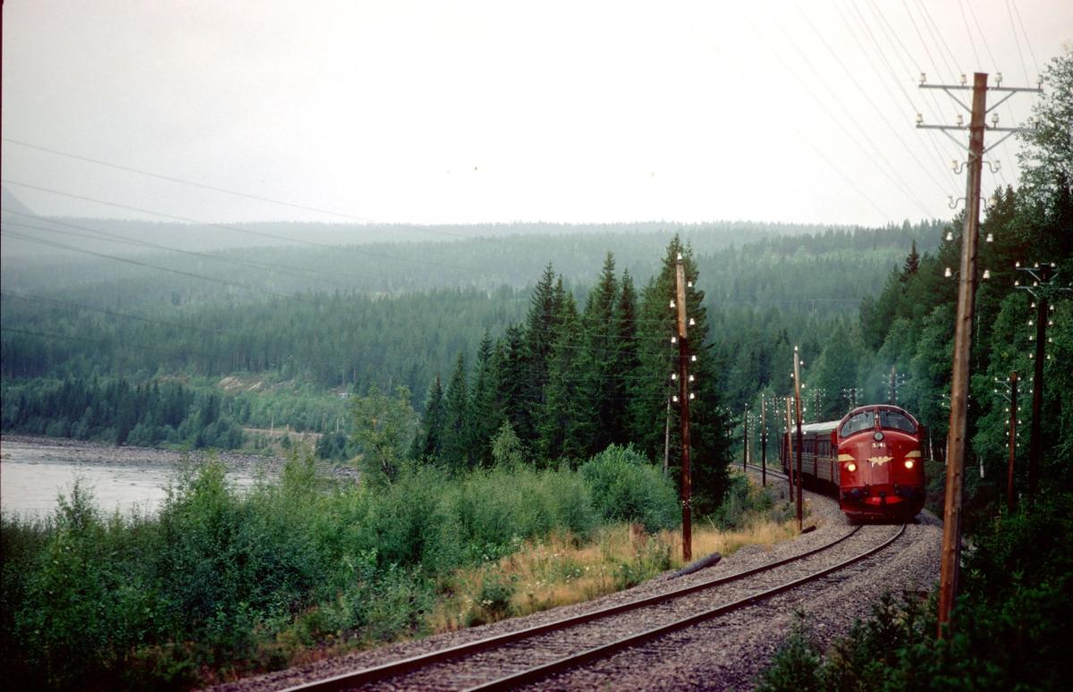 Rørosbanens dagtog, tog 302 (Trondheim - Oslo Ø), sør for Barkald med dieselelektrisk lokomotiv type Di 3b, nr. 641.