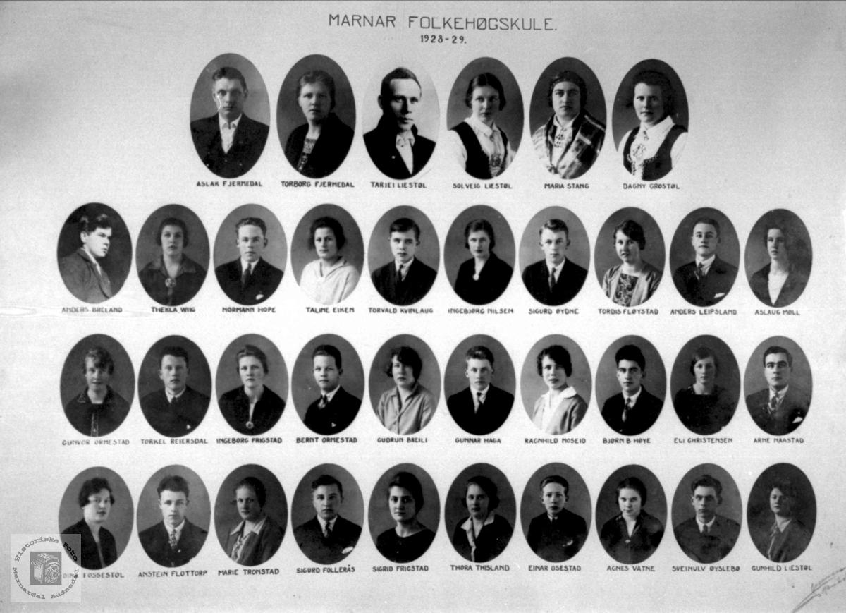 Marnar folkehøyskole 1928-1929