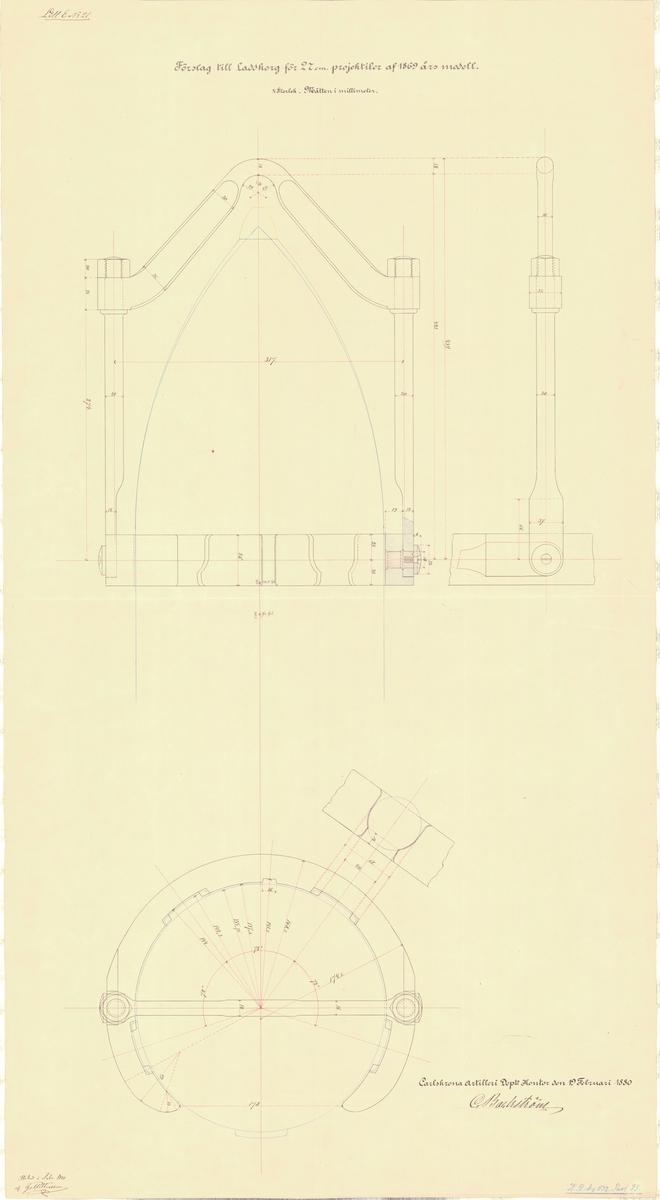 Förslag till laddkorg för 27 cm projektiler av 1869 års modell