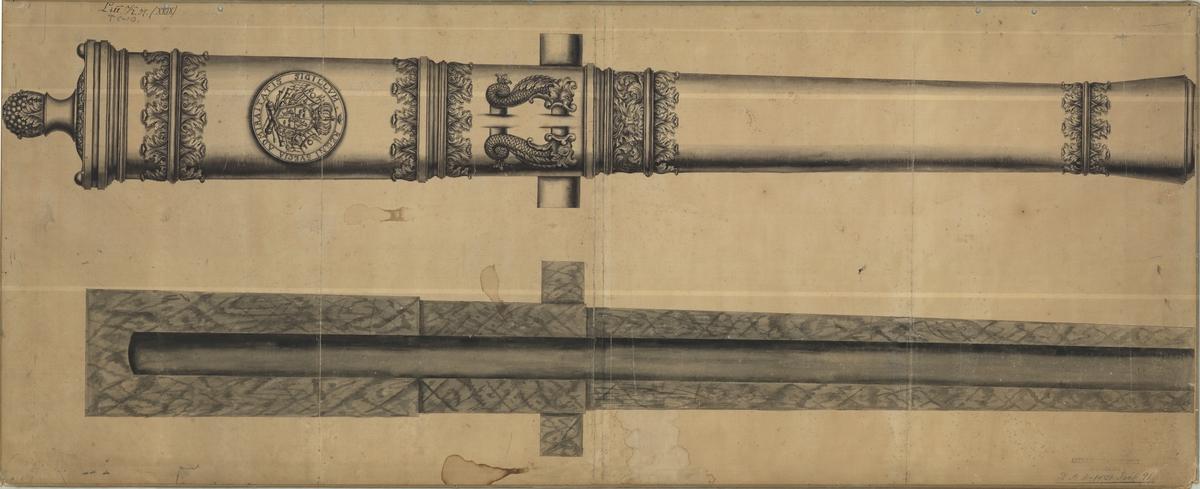 Ritning på gjuterimodell till kanon från tidigt 1700-tal