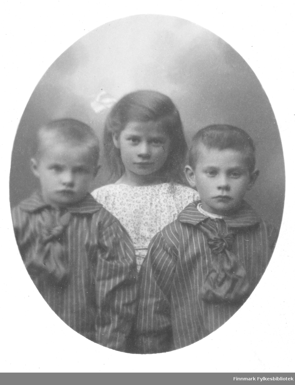 """Gruppebilde av 3 små barn, to gutter stripete skjorter med store sløyfer og en jente i blomstrete, lys kjole og sløyfe i håret. Barna er ca. 3, 5 og 6 år gamle, men er ikke identifisert ved fornavn, men i albumet er det notert """"Marki"""" noe som sannsynligvis henviser til etternavnet Marki, en stor kvensk familie i Vadsø. I boken """"Vadsø bys historie"""" av Johan Beronka skriver han om den finske innvandringen til Vadsø; """"En tallrik familie er Marki; Johan Persen Marki fra Finnland var født 1842 og døde i 1912. Blant hans barn og barnebarn var der i 1927 18 stemmeberettigede"""". Disse barna er sannsynligvis etterkommere etter familien som innvandret i 1840-årene.   I folketelling 1875 for Vadsø kjøpstad er Johan Persen Marki notert som født i 1843,  i Karungi i Sverige, med yrke """"Huus Tømmermand og fisker"""" og """"taler kvensk"""". Han bor da i bydel Yttre Kvænby, gårdens nummer 346, 196"""". Han bor da sammen med sin kone; Marjane Kennonen født 1844 i Vadsø. Sammen har de tre sønner, Fredrik (født 1868), Johan (født 1869) og Theodor (født 1871), samt en datter Brita (født 1874). Men 10 år tidligere, i folketelling for 1865 i Vadsø kjøpstad, er Per Marki, født ca. 1840 i Sverige (alder 26 år) registrert som fisker, """"boende i den midtre bydel, gårdsnr.27). Per Marki bor med sin kone Maria Johanna Marki (23 år)  og datteren Anna Theresa Marki som da er 2 år og Hanna Thekla Marki (1 år). Det kan se ut som om det er to brødre som har innvandret omtrent samtidig, fra Sverige (finsktalende)."""