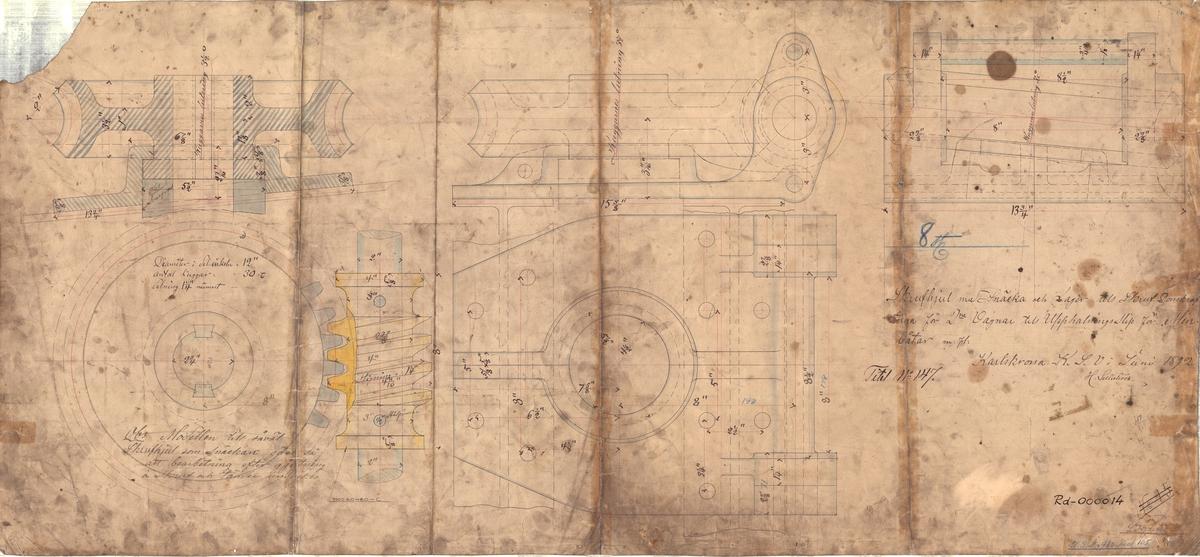 Detaljritning på 8 st skrivhjul med snäcka och lager till skruvdomkrafter för 2:e vagnar till upphalningsslipen för minbåtar m.fl.