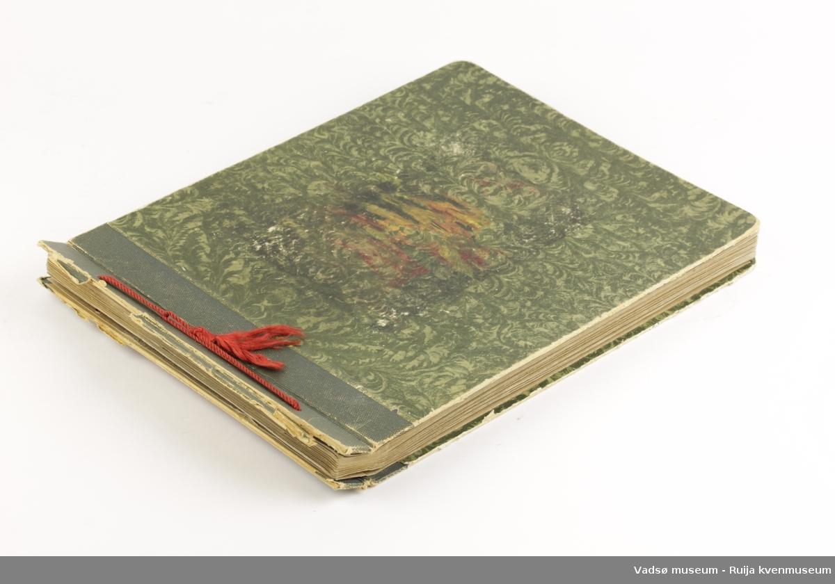 Fotoalbum med mønstret omslag i grønt og grå papirsider inni. Tvinnet rød silkesnor i rygg.