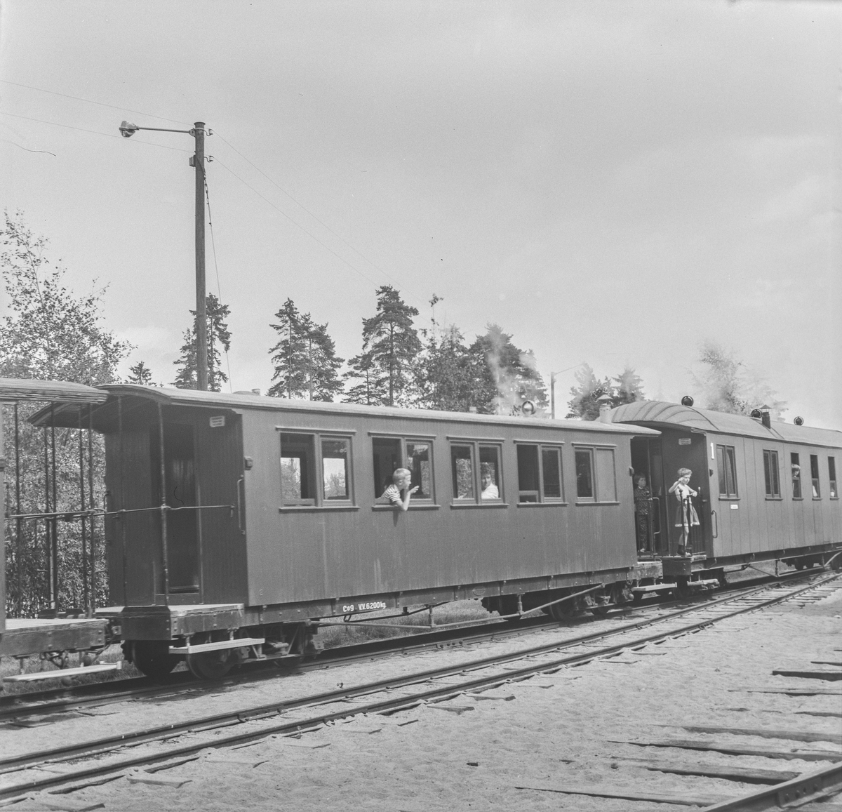 Personvogn Co9 fra Urskog-Hølandsbanen og tidligere Nesttun-Osbanen i Tertitt-toget på Jernbanemuseet på Hamar.