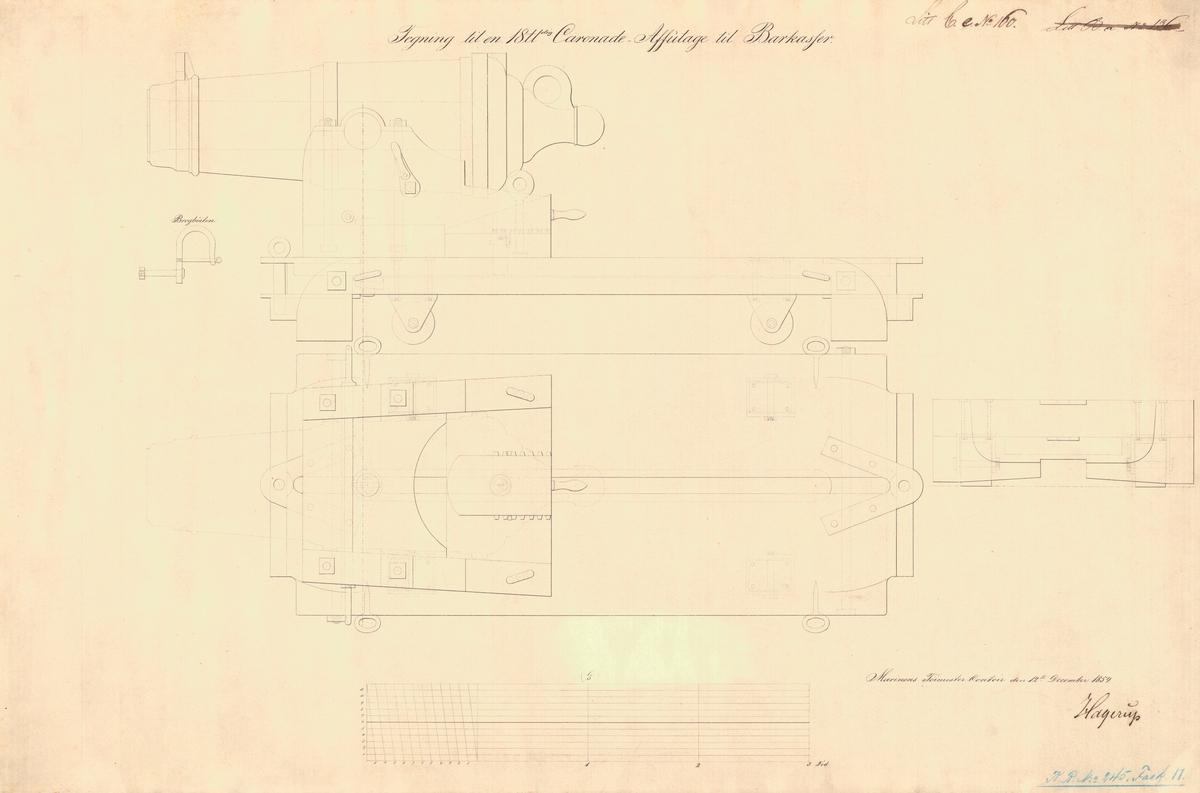 Tegning til en 18 pundig karonade-affütage til barkasser