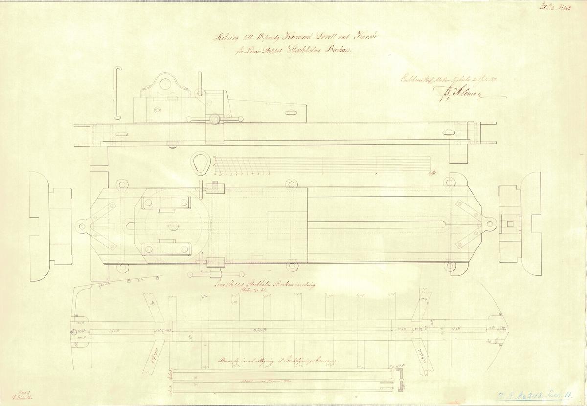 Ritning till 18 pundig karronadlavett med kursör för linjeskeppet Stockholms barkass