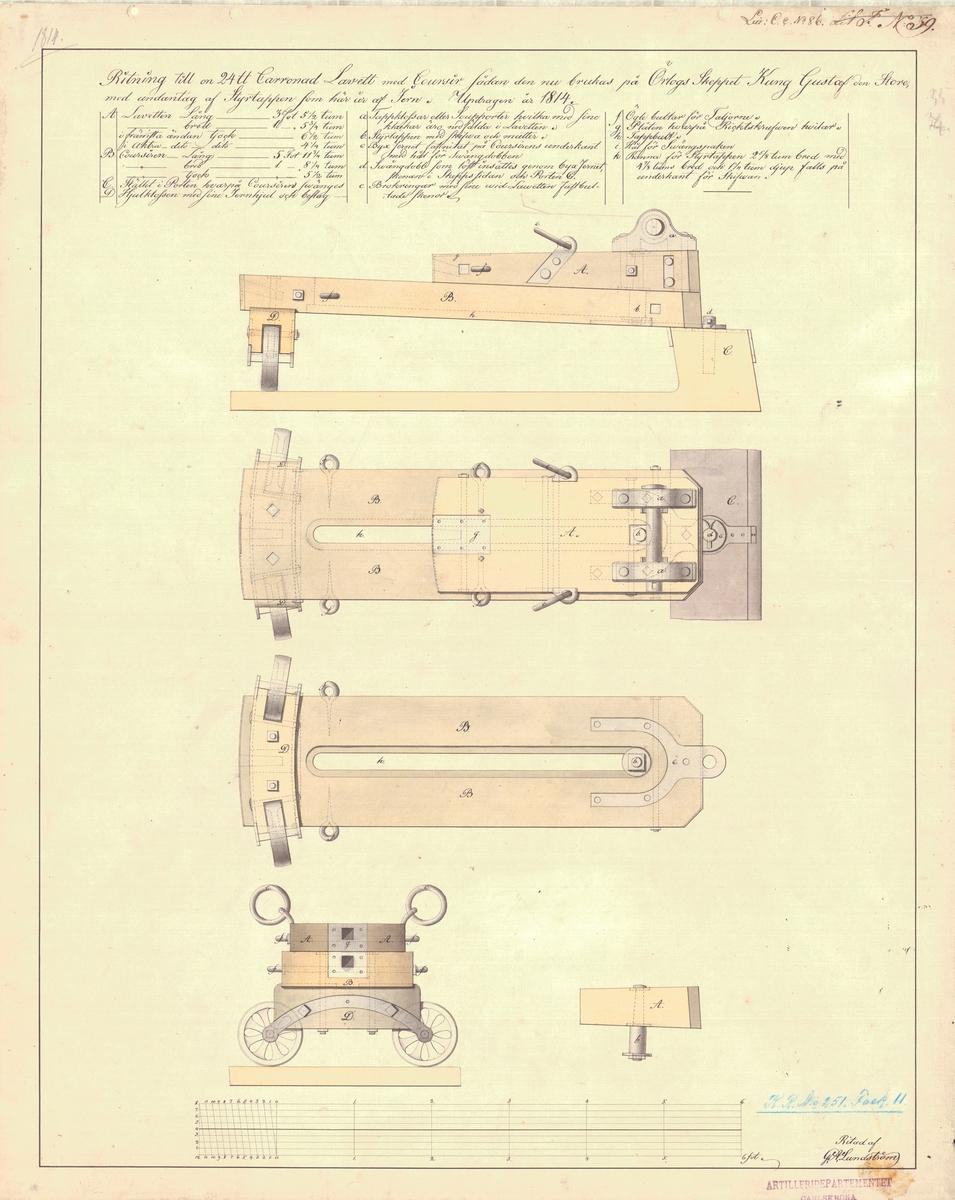 Ritning till en 24 pundig karronadlavett med kursör, sådan den nu brukas på örlogsskeppet Kung Gustaf den Store
