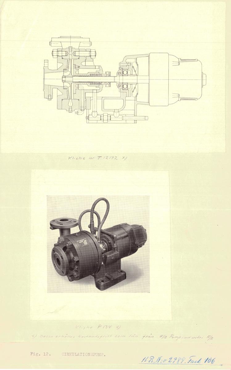 3 ritningar med foton av dirkulationspump.