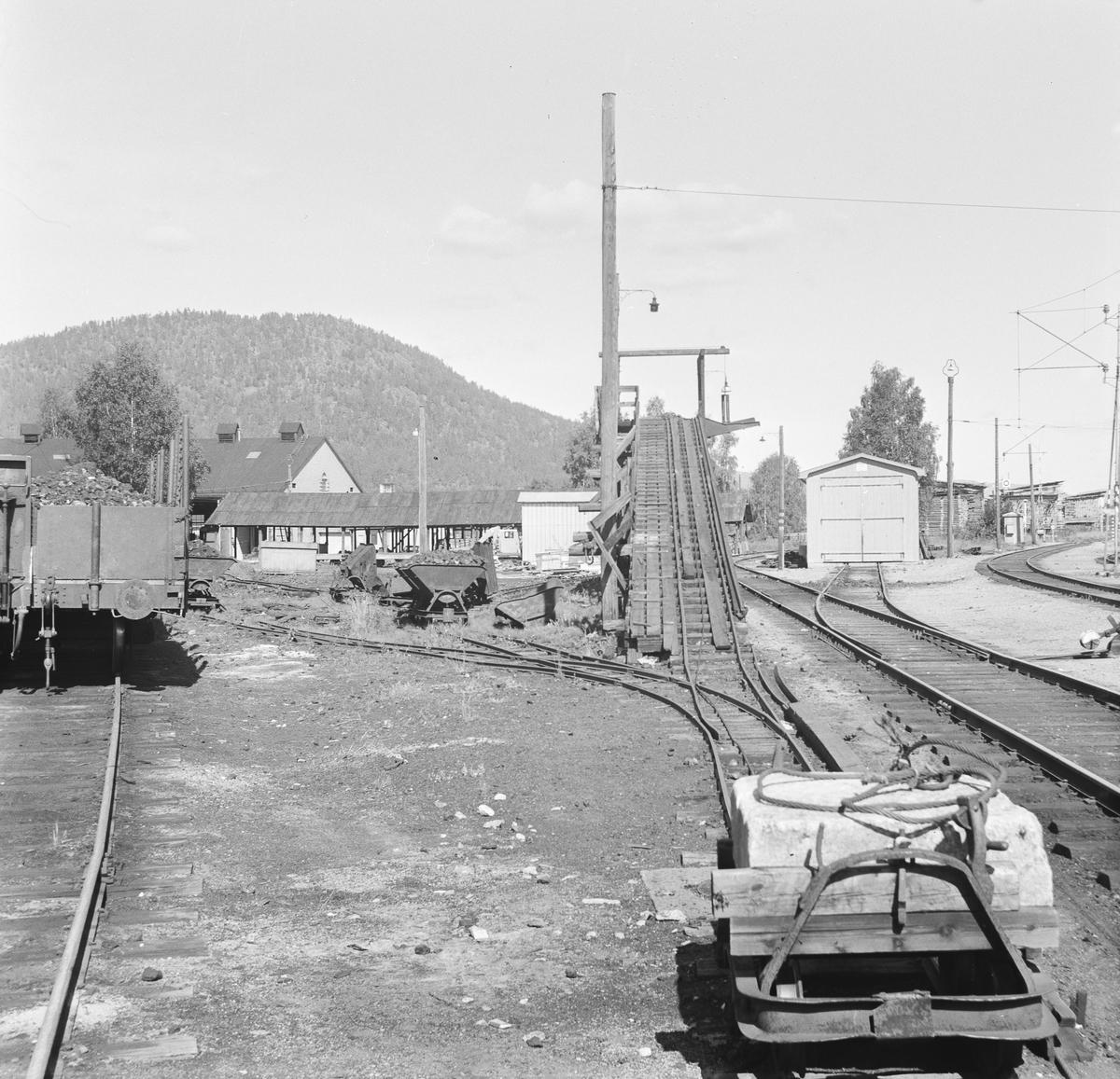 Anlegg for kullfyllingpå damplokomotiver på Kongsberg stasjon.