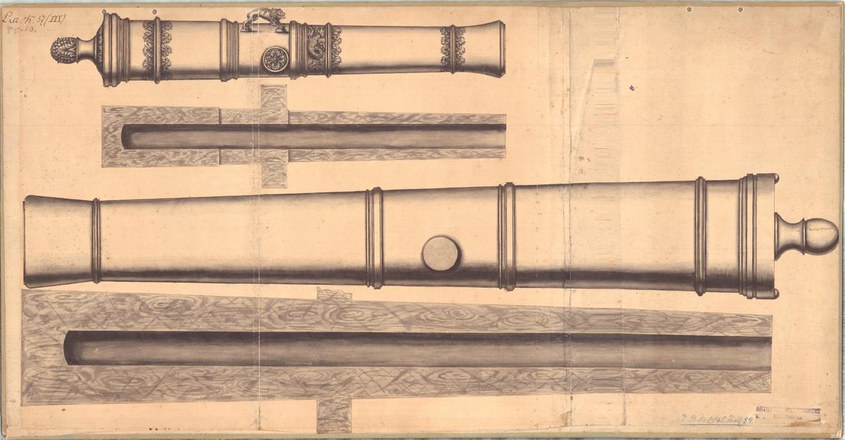 Ritning på gjuterimodeller till kanoner. Från första åren av 1700-talet. Uppklistrad på kartong.