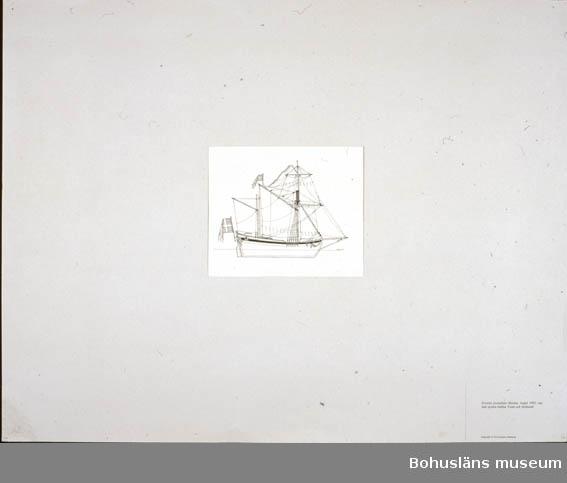 Montering/ram: Passepartout av tunn grå kartong; 55 x 66 cm, Svenska postjakten Hiorten, byggd 1692, seglade posten mellan Ystad och Stralsund. Övrig historik se UM72.26.001.