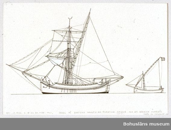 Montering/ram: Passepartout av tunn grå kartong; 55 x 66 cm, Segel på Egeiska havet, en turkisk caique och en grekisk fiskebåt från Mykonos. Övrig historik se UM72.26.001.