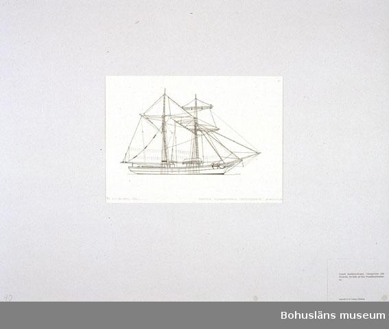 Montering/ram: Passepartout av tunn grå kartong; 55 x 66 cm, Fransk bankfiskeskonare, Champenoise från Granville, för fiske på New Foundlandsbankarna. Övrig historik se UM72.26.001.