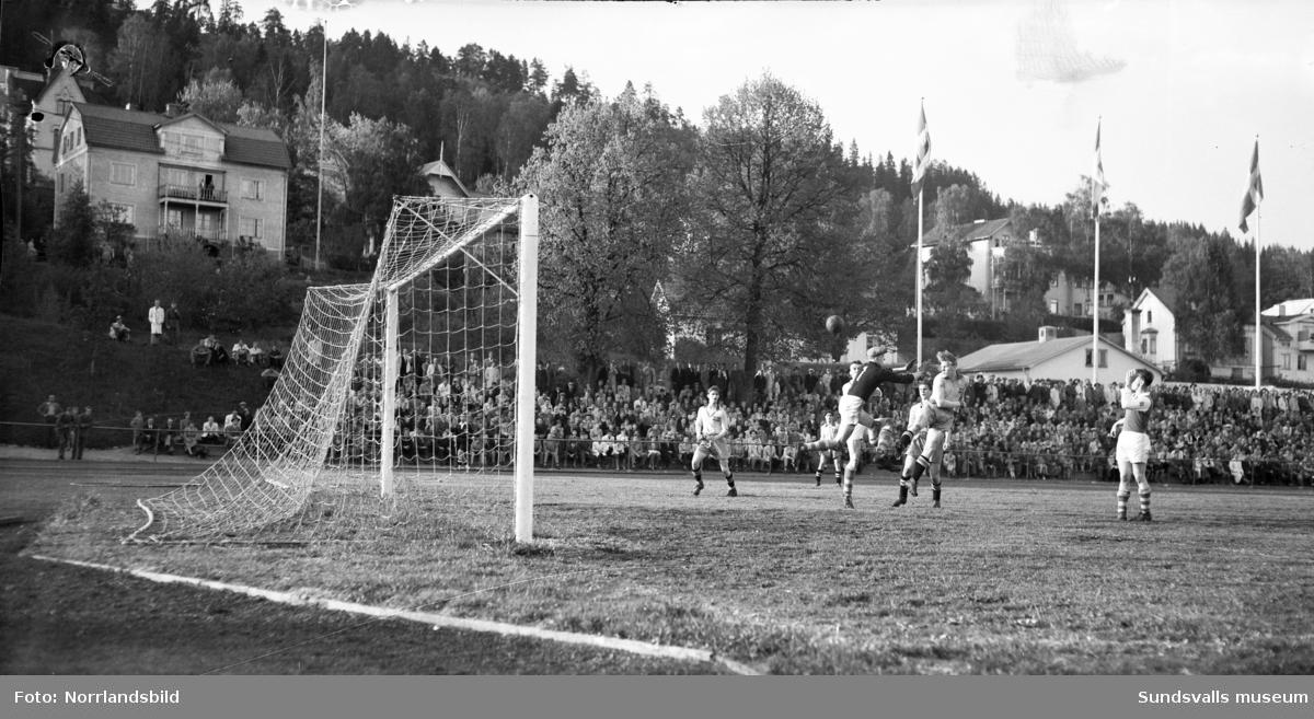 Fotbollsmatch, Medelpad-B-landslaget, i Idrottsparken.