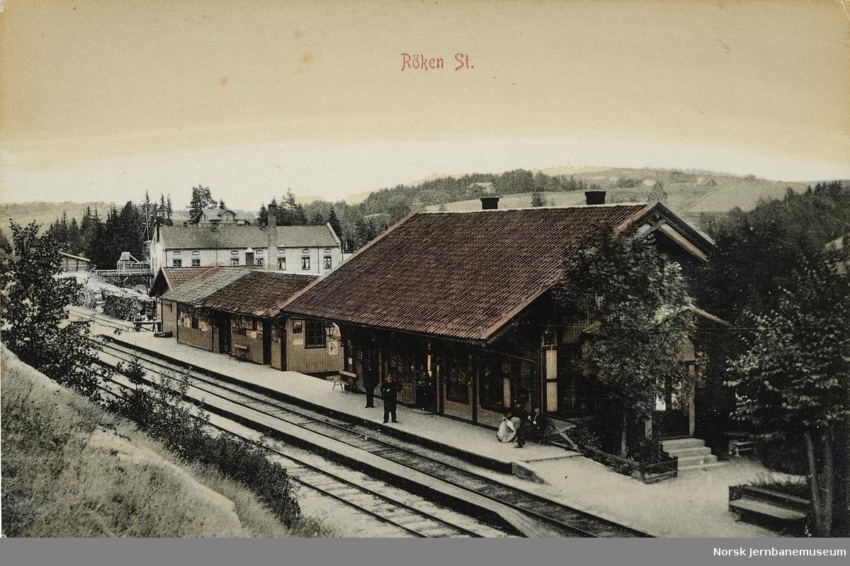 Postkort av Røyken stasjon