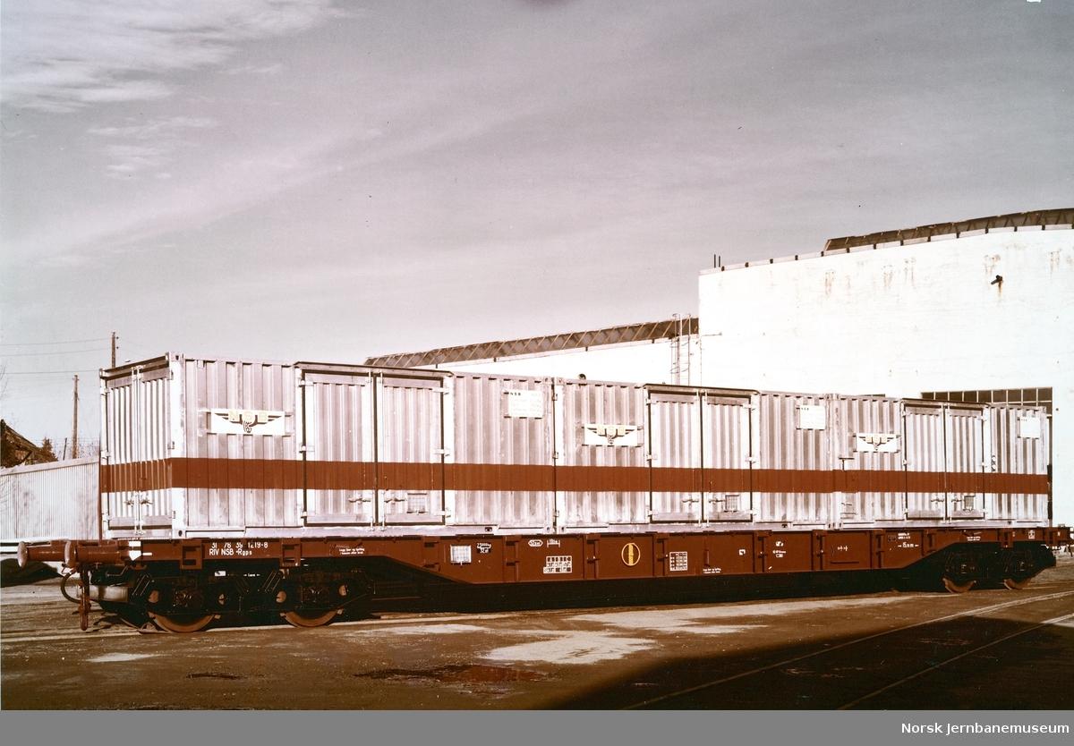 NSB plattformvogn litra Rgps 392 1219 med NSB-containere