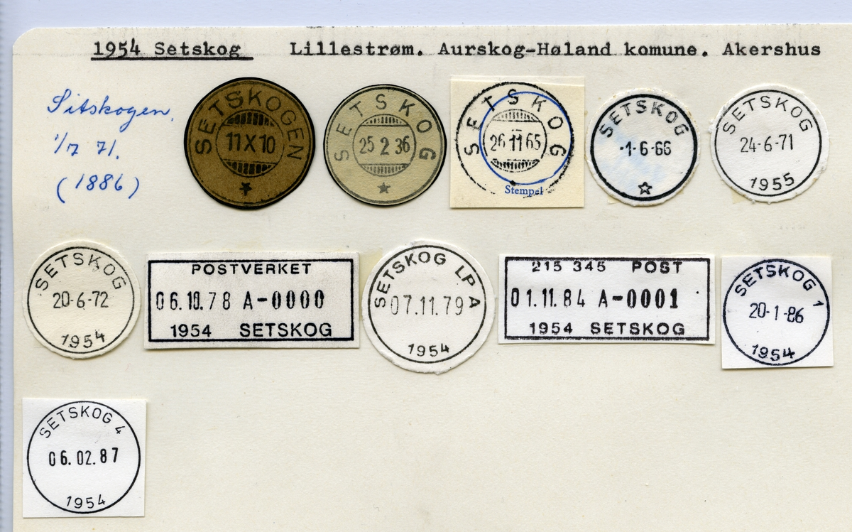 Stempelkatalog, 1954 Setskog, Aurskog-Høland kommune, Akershus