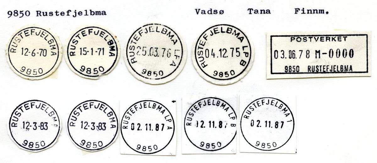 Stempelkatalog 9850 Rustefjelbma, Tana, Finnmark