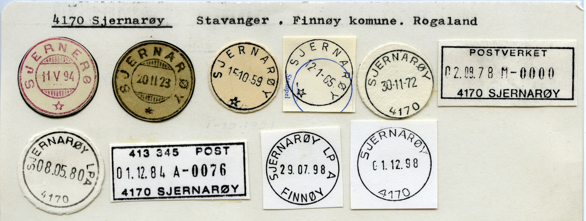 Stempelkatalog  4170 Sjernarøy, Finnøy kommune, Rogaland