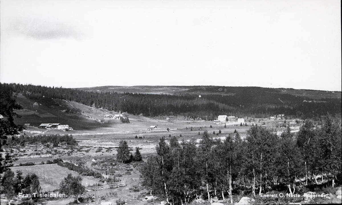 Jordbrukslandskap i Tisleidalen, med Hovda hotell til høyre