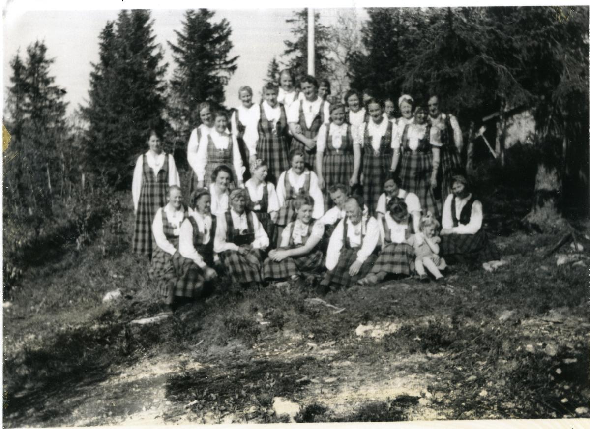 Kvinner i rutastakkar frå Aurdal oppstilt i skogkant