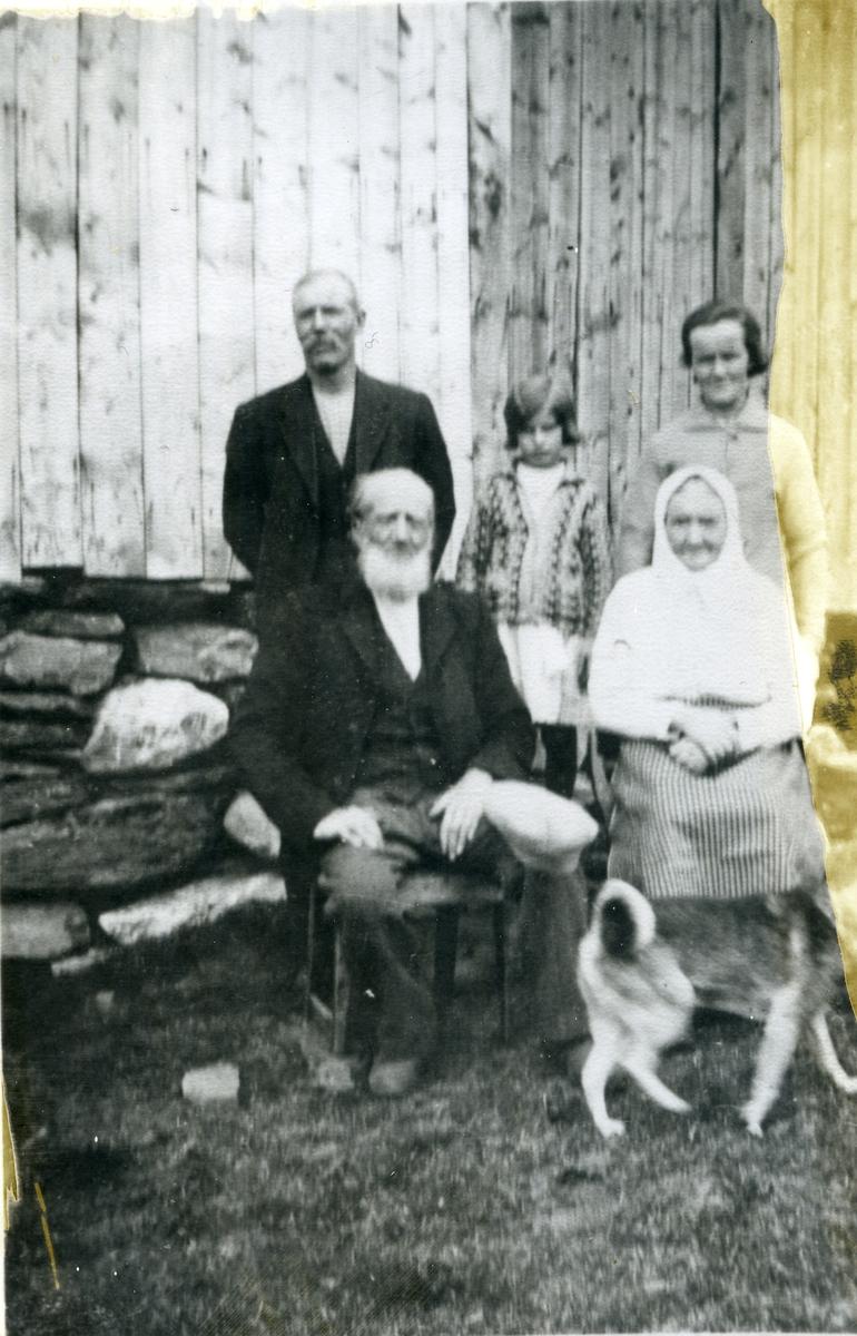 Familieportrett med oldemor og oldefar fremst - Ola O. og Sigrid Haugen. Bak f.v. sonen til Ola, Ola Gladheimshagen, Anne (oldeborn) og dotter til Ola Gladheimshagen, Olga Bakken