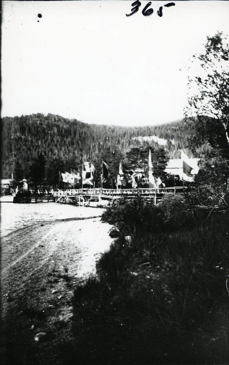 Brua over til Vesleøya pynta med flagg, Fagernes. Bildet er tatt i forbindelse med åpninga av Valdresbanen, i 1906