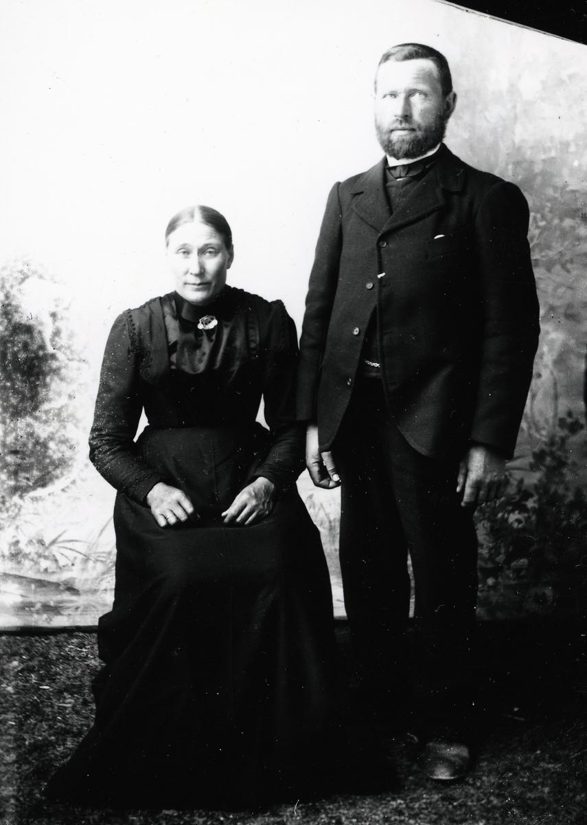 Mann og kvinne avbildet foran lerret