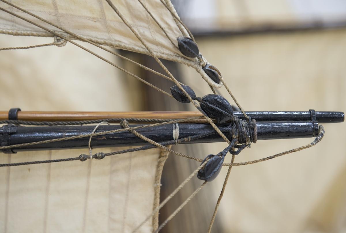 Fullriggat med segel, flagga och vimpel. Skulpterad akterspegel med förgyllning, galjon och kranbalkar. 66 metallkanoner. 56 kanoner består endast till halva sin längd och är med en tapp fästade i det massiva skrovet.Restaurerad och kompletterad. Denna modell är tillverkad 1790 efter Chapmans konstruktionsritningar. Ett förslag till nybyggnad på basis av under kriget 1788-1790 vunna erfarenheter. Tillhörde konstruktionskontoret i Stockholm från 1810. Överförd 1907 från modellsamlingarna.