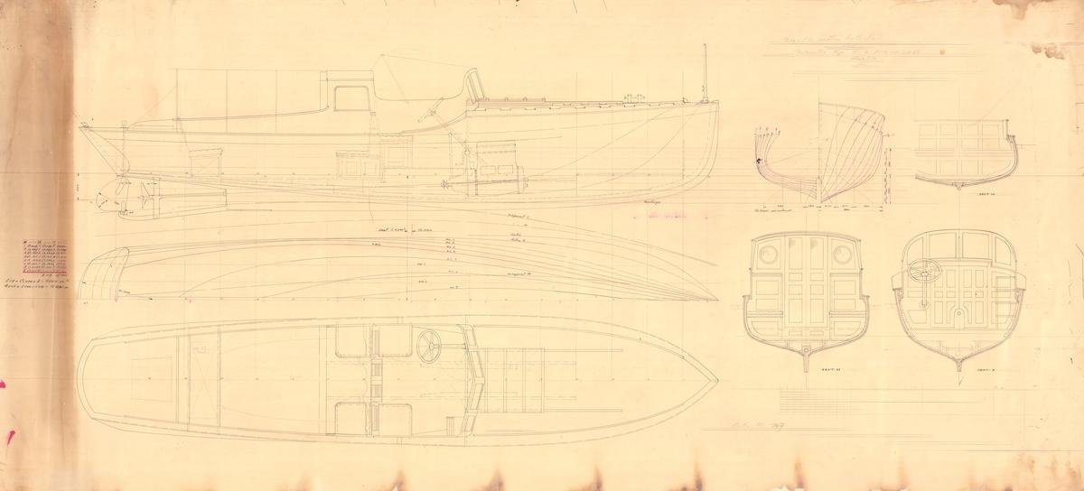 Skiss; spantruta och linjeritning, inredningsritning i profil, plan och sektion