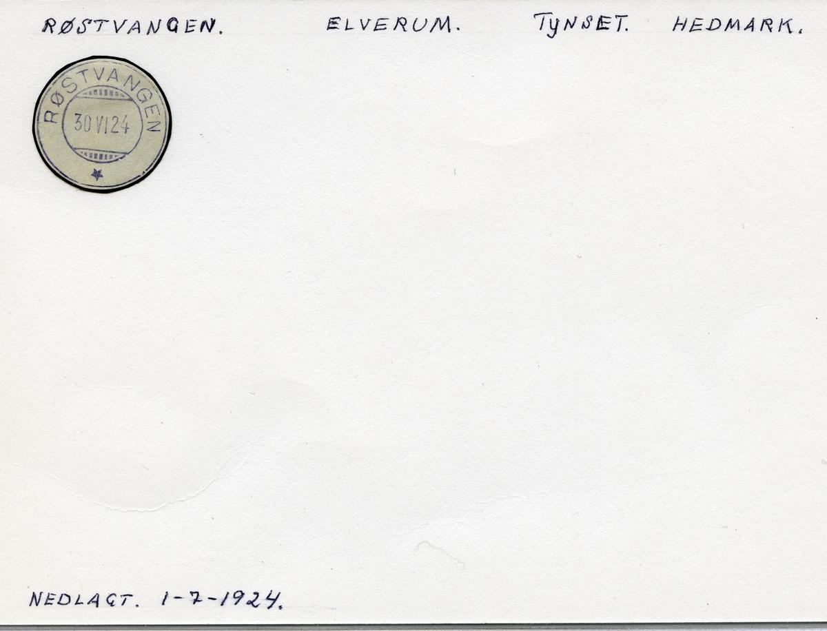 Stempelkatalog Røstvangen, Tynset, Hedmark