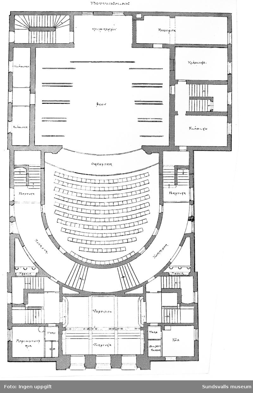 Originalritning från 1892 över Sundsvalls teater: bottenplanet.