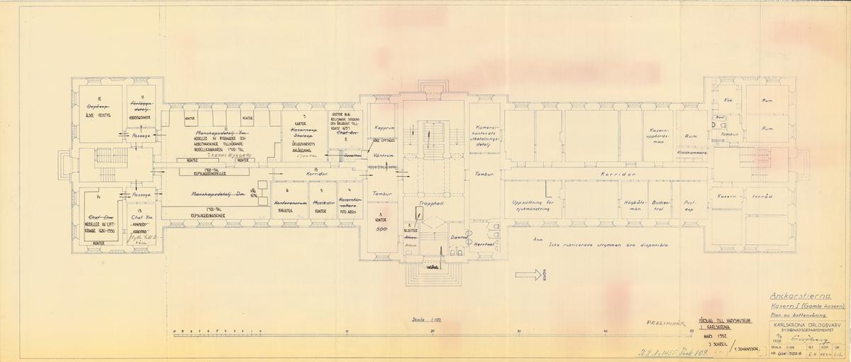 Kasern I Ankarstjärna, förslag till Varvsmuseum i Karlskrona. Plan av bottenvåning