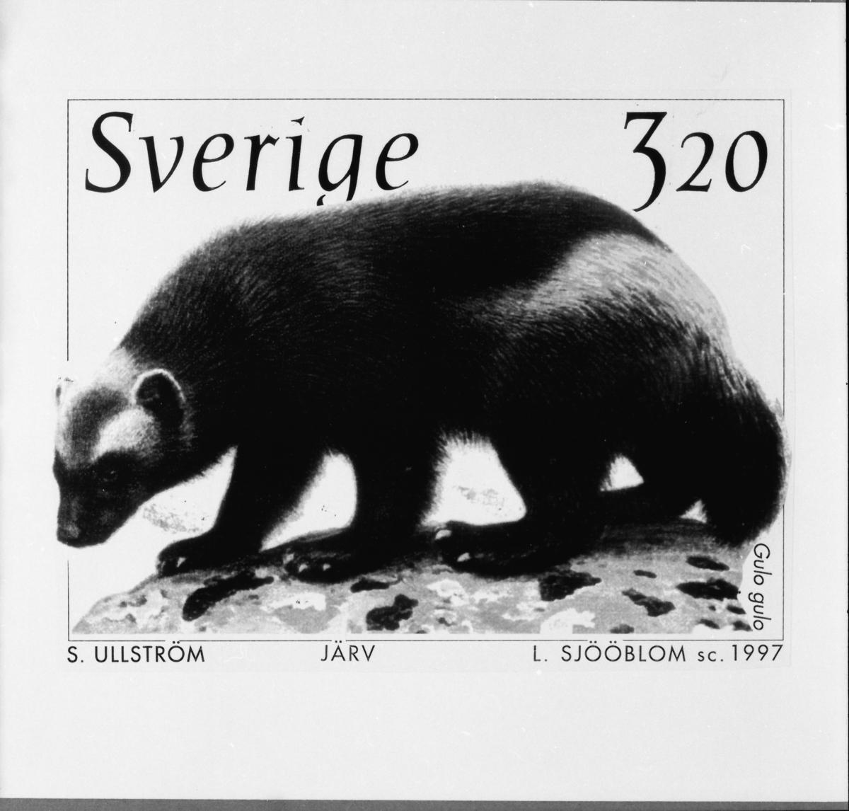 """Original till frimärket """"Järv"""" för utgåvan Djuren på Nordens Ark 1, 1997."""
