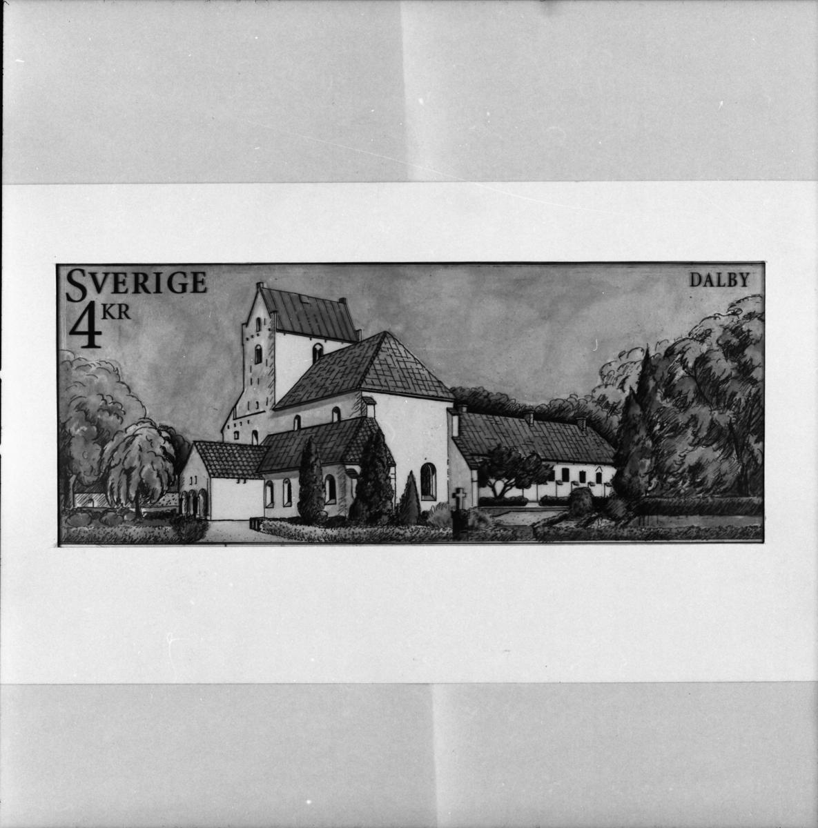 """Originalteckning till frimärket """"Dalby kyrka"""" för frimärksutgåvan Svenska hus 3, kyrkor, 1997."""