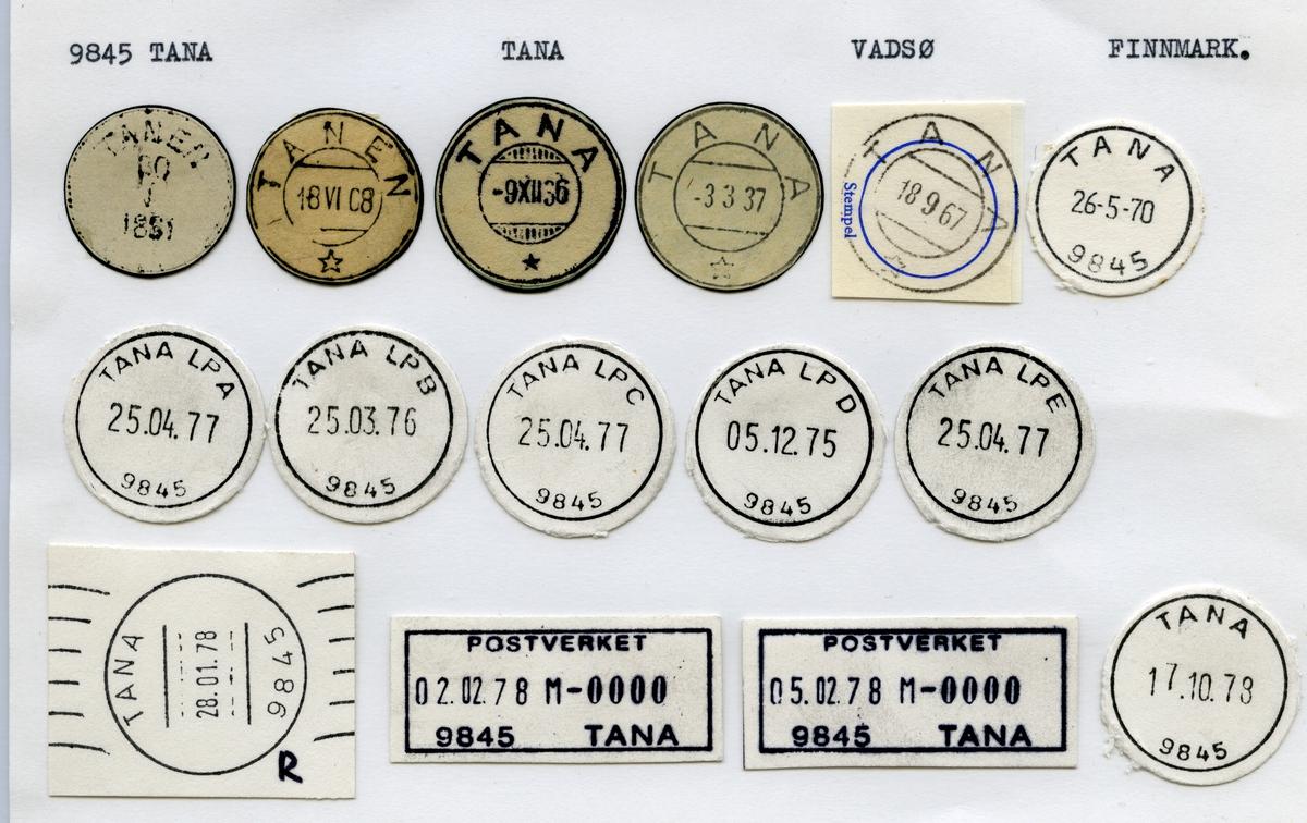 Stempelkatalog 9845 Tana (Tanen), Vadsø, Finnmark