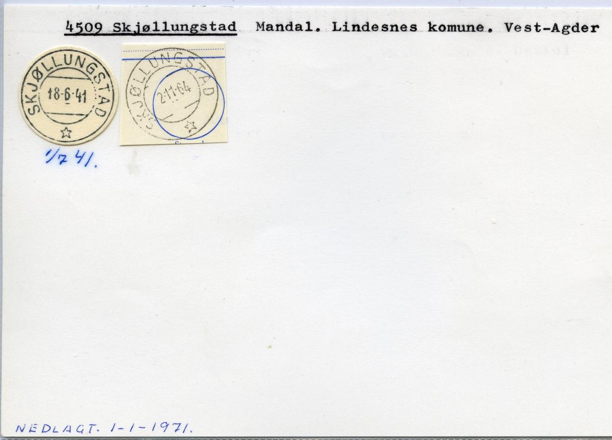 Stempelkatalog  4509 Skjøllungstad, Lindesnes kommune, Vest-Agder