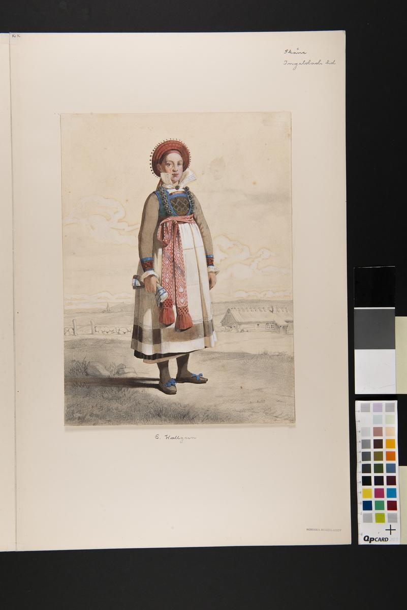 Akvallererad blyertsteckning. Stående kvinna i helfigur med vitt förkläde och vävda band. Landskap i bakgrunden. Akvarell i storformat av Otto Wallgren.