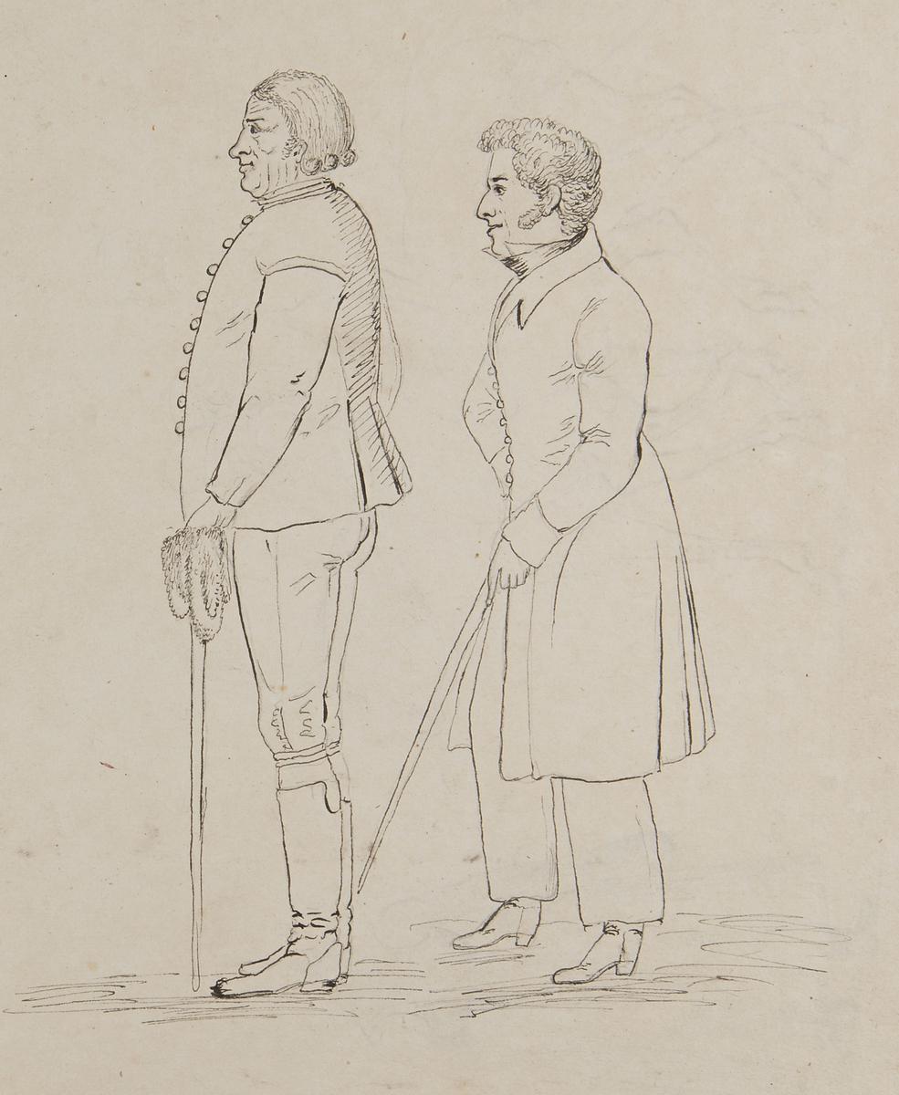 Lund 1826. Stadsbild, kvinnor o man till häst samt en gående kvinna bakifrån. Baksida två män med käppar . Tuschteckningar av G.W Palm