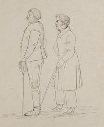 Lund 1826. Stadsbild, kvinnor o man till häst samt en gående