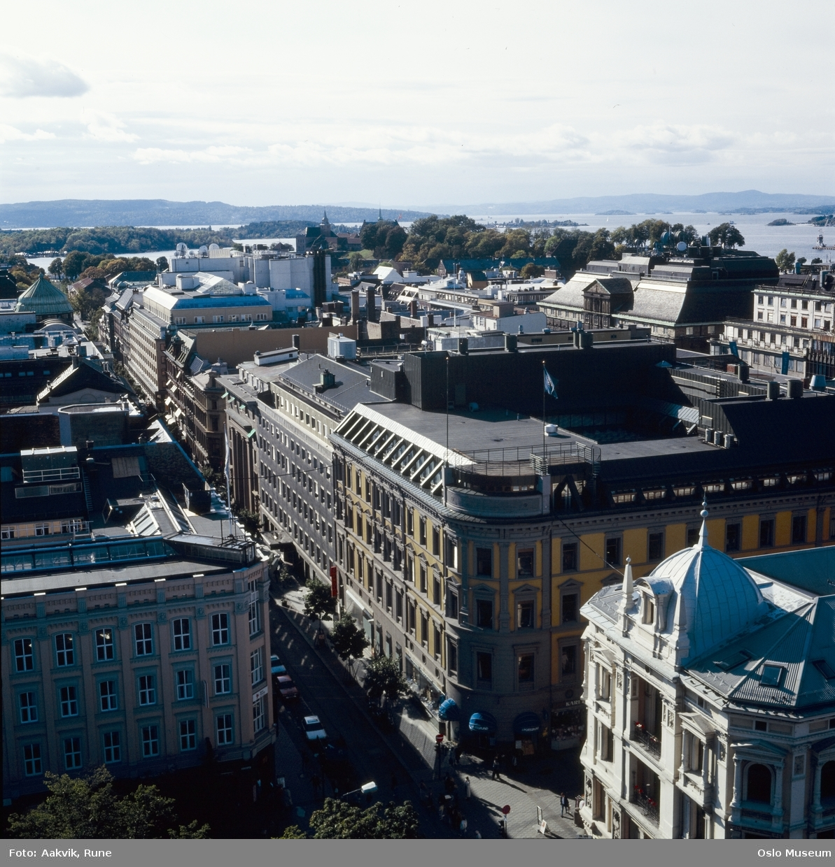 utsikt, forretningsgårder, fjord, øyer