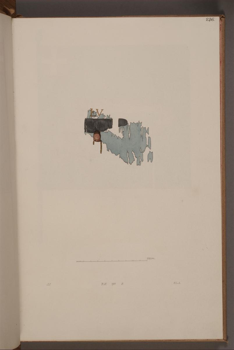 Avbildning i gouache föreställande fragment av fälttecken taget som trofé av svenska armén. Den avbildade fanan finns inte bevarad i Armémuseums samling.