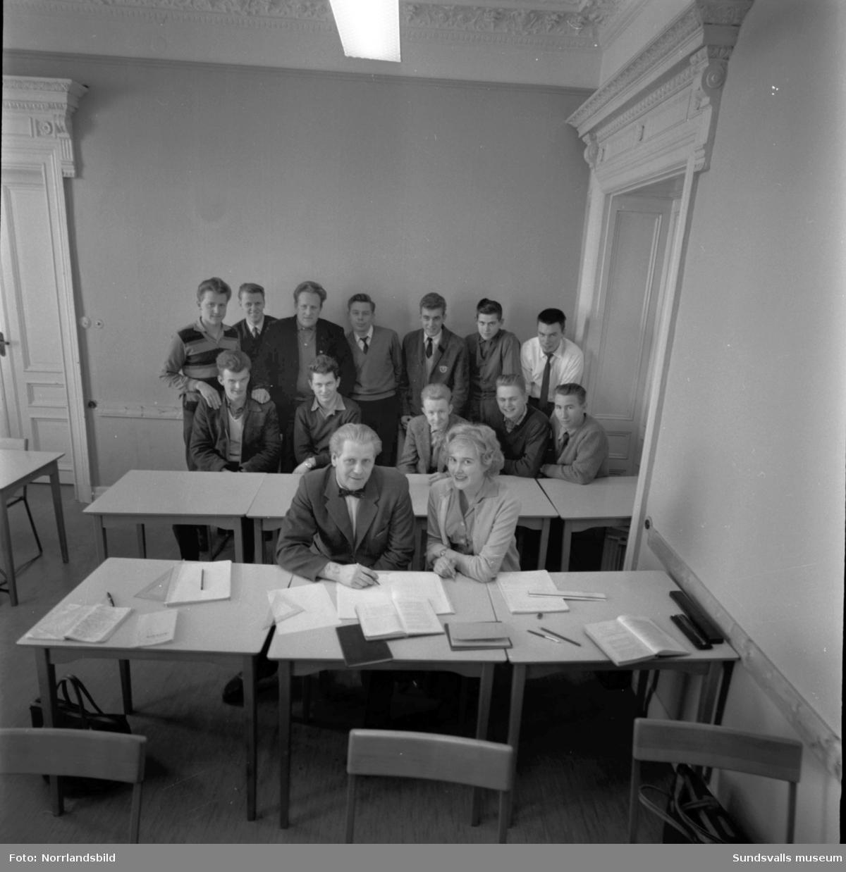 Nya tekniska skolan i Sundsvall i Thuressonska huset vid Nytorget. Interiörbilder.