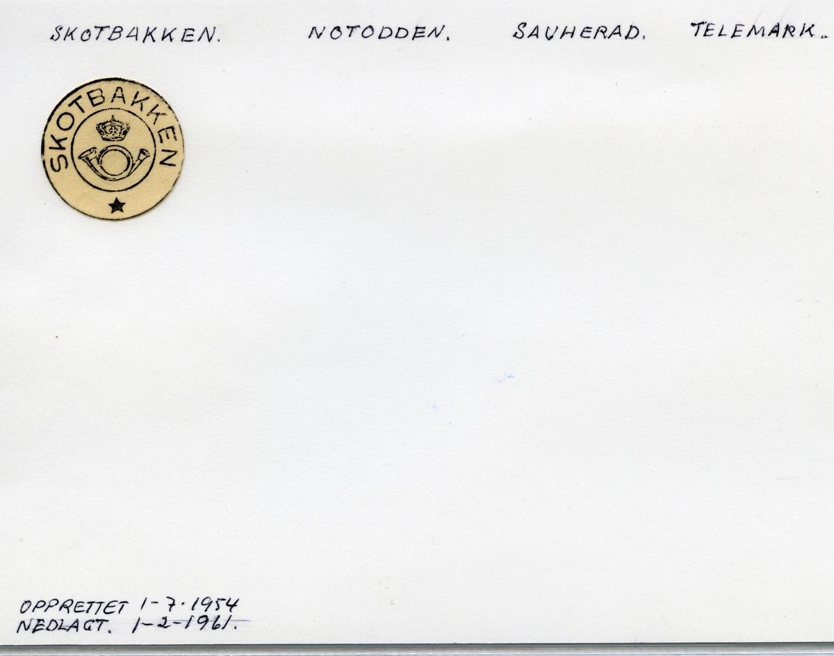Stempelkatalog  Skotbakken, Sauherad kommune, Telemark