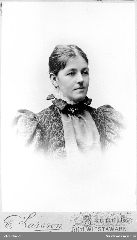 Anna Braathen, f Lous, hustru till grosshandlare G P Braathen, Hofvid, Alnö.