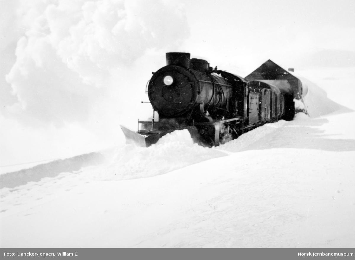 Damplokomotiv type 39a med godstog ved Finse